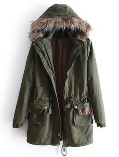Green Removable Fur Hooded Long Sleeve Drawstring Coat
