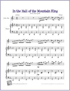 In the Hall of the Mountain King by Edvard Grieg | Free Sheet for Alto Saxophone - http://www.makingmusicfun.net/htm/f_printit_free_printable_sheet_music/in-the-hall-alto-sax.htm
