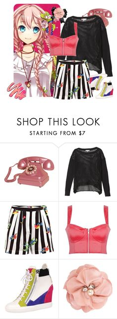"""Luka"" by kittenlove34 ❤ liked on Polyvore featuring Crosley, Rebecca Taylor, MSGM, Giuseppe Zanotti, Forever 21, striped pants, wedge sneakers, stripes, sheer and flower hair accessories"