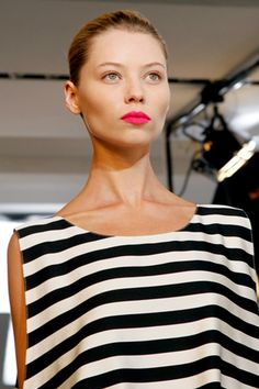 stripes + hot pink lips
