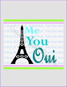 Me You Oui Eiffel Tower Silhouette DIY Wall Art Project SVG Image for Die Cutting Machines by CreativeSparkDesigns on Etsy