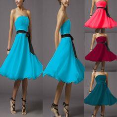Classic Beautiful Cocktail Bridesmaid Formal Gown Wedding Short Dress W/ Sash #Beautifly #BallGown #Formal