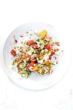 salat, fenchelsalat, melonen salat, melonen, feta, vegetarisch, vegetarian, tamari, mandeln, sojasauce