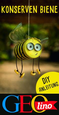 Verwandelt alte Blechdosen in niedliche Bienen für den Garten. Wie, zeigen wir euch in der Bastelanleitung! #basteln #upcycling #deko #gartendeko #bastelnmitkindern
