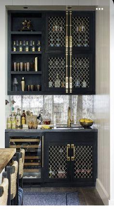 Home Wet Bar, Bars For Home, Ashley Stewart, Dream Home Design, House Design, New Kitchen, Kitchen Decor, Modern Home Bar, Built In Bar