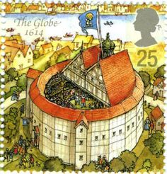 Picture of UNITED KINGDOM - CIRCA A stamp printed in Great Britain dedicated to Reconstruction of Shakespeares Globe Theatre, shows the globe, circa 1995 stock photo, images and stock photography.