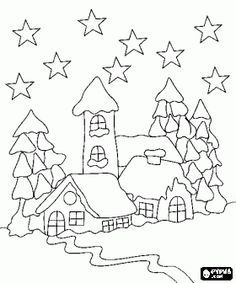 desenho de Casas no bosque nevado sob as estrelas na noite de Natal para colorir