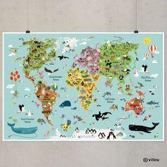 illustrierte Weltkarte XXL Kinderweltkarte A0 von www.viilou.de - Sonnelle Ullmann