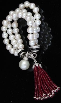 PEARLFECION / Ruby Pearl and Diamond Tassel Bracelet
