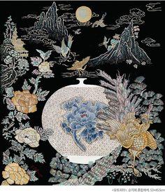 이지영 – 항아리 가득 담아낸 소망의 꿈 | 월간민화 Japanese Artwork, Japanese Prints, Chinese Painting, Chinese Art, Esoteric Art, Chinese Embroidery, Tibetan Art, Japanese Calligraphy, Japanese Textiles