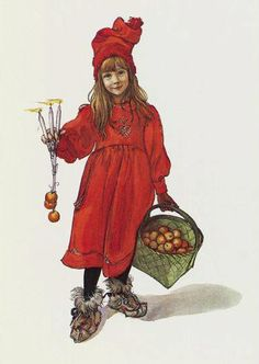 """A mixture of Lotta celebrates Christmas and Little Red Riding Hood, but looks can be deceiving. The Journal of Carl Larsson shows his daughter Brita as Idun. of Idun says the German Wikipedia: """"She is the youngest daughter of the older children of the dwarf Ivaldi and the wife of Bragi divine singer, who won with a song in itself. Idun is the guardian of the golden apples that give the gods eternal youth and thus immortality. """""""