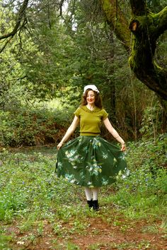 1950s Cotton Green Floral Skirt... by AstralBoutique on Etsy, $44.00