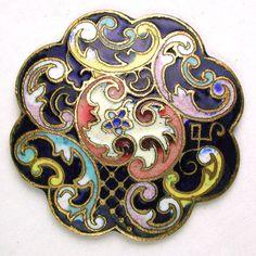 Antique Enamel Dome Button Colorful Flower Design w/ Scallop Border - 1 & 1/16 | eBay