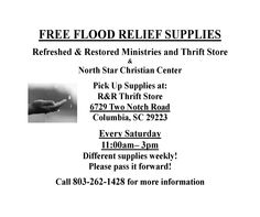 #FloodRelief at Refreshed & Restored Ministries and Thrift Store every Saturday