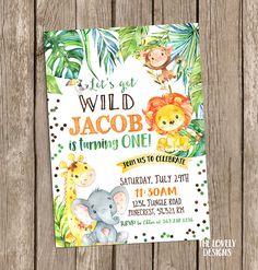 Invitación de selva, invitación de cumpleaños de Safari, Safari invitación, fiesta de cumpleaños de la selva, animales cumpleaños acuarela, Digital imprimible