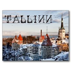 Get your hands on a customizable Tallinn postcard from Zazzle. Find a large selection of sizes and shapes for your postcard needs! Places In Europe, Places To See, Paris Skyline, Germany, Around The Worlds, Tower, Country, City, Winter