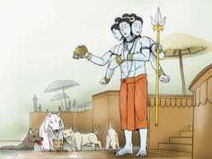 Dattatreya - The sacred snan by VachalenXEON on DeviantArt Shiva Hindu, Shiva Art, Shiva Shakti, Hindu Deities, Lord Shiva Painting, Krishna Painting, Wicca, Lord Photo, Saints Of India