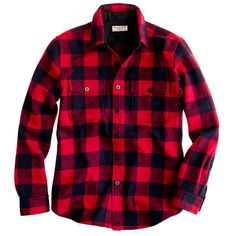 Crew for the Buffalo check CPO shirt-jacket for Men. Find the best selection of Men Shirts & Tops available in-stores and online. Shirt Skirt, Shirt Jacket, Jcrew Gifts, Men's Fashion, Le Male, Raining Men, Light Jacket, Plaid Flannel, Red Plaid