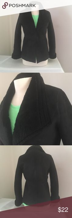 """WHBM Faux Fur lined Sz S Super nice pant coat. Outside has Suede feel with the appearance of unfinished edges. Sleeves roll up and has a nice triangular lapel. Very classy coat and very soft inside. Armpit to armpit is 20"""". Shoulder to hem is 26"""". White House Black Market Jackets & Coats Pea Coats"""