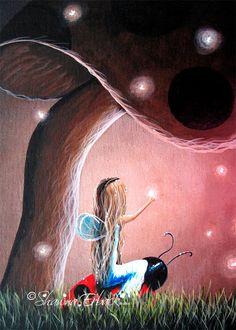 ladybug+FAIRY+Little+Faery+art+print+Bright+by+shawnaerback,+$10.00