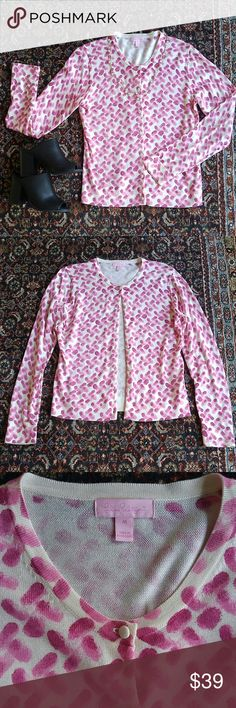 Lilly Pulitzer Printed Cardigan Pink and cream printed cardigan from Lilly Pulitzer. Size medium. Approximately 19 inches laying flat, armpit to armpit. Selling because my mom lost weight and it no longer fits. She may have only worn once or twice. In excellent condition. Perfect with dress slacks or suit for office or with denim! Lilly Pulitzer Sweaters Cardigans