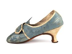 American Colonial Period Shoes: ca. 1770-1790, French,  silk damask, contrast colour embellishments and heel covering, leather soles, Louis XIV heels.