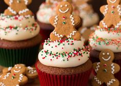 only way to finish off these gingerbread cupcakes? With a gingerbread man cookie, of course! only way to finish off these gingerbread cupcakes? With a gingerbread man cookie, of course! Holiday Cupcakes, Oreo Cupcakes, Themed Cupcakes, Holiday Desserts, Holiday Baking, Christmas Baking, Cupcake Cakes, Holiday Appetizers, Man Cupcakes