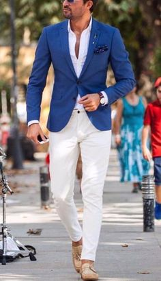 Fredy p summer wedding menswear, summer wedding suits, summer suits, blue blazer outfit Summer Wedding Suits, Casual Wedding Attire, Summer Suits, Summer Wedding Menswear, Men Summer, Party Wedding, Wedding Shoes, Blue Blazer Outfit Men, Blazer Outfits Men