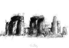 Stonehenge, Artist Sean Briggs producing a sketch a day, prints available at https://www.etsy.com/uk/shop/SketchyLife  ##artist ##Etsyshophttp://etsy.me/1rARc0J#Stonehenge ##illustration#ink#print#draw©#Sean_Briggs #ancient #art #drawing #sketch