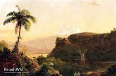 Tropical Landscape by Frederic Edwin Church - Oil Painting Reproduction - BrushWiz.com