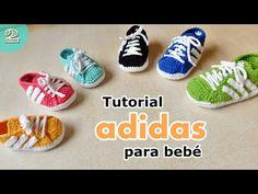 En este tutorial vamos a realizar zapatillas para bebes a crcohet, inspiradas de la marca Adidas. El talle del tutorial es de 11 cm. Para talles de 8, 9 y 10...