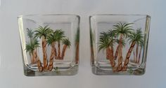Palm Tree Candle Holders Hand Painted Glass by LisasPaintedCrafts