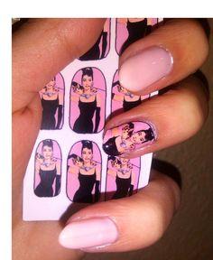 AUDREY HEPBURN Breakfast At Tiffany's NAIL decals available in Pink or Tiffany Blue