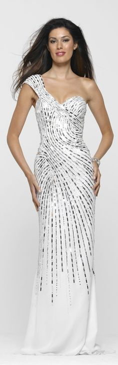 White & Silver Prom Gown