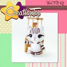DIY handmade wool felt kit Kitty  This kit is included: Wool Felt(white, pink,grey,brown,black colors), Matt, 2 needles, 2 eyes, keychain brass, instruction guide English   Difficulty : Level 1 (EASY)