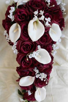 Silk Cascade burgundy and white bridal bouquet roses ,calla lilies and lilies of the valley 2 pc. just maybe with something to replace the calla lilies Cascading Bridal Bouquets, Rose Bridal Bouquet, Bride Bouquets, Cascade Bouquet, Burgundy Bouquet, Maroon Wedding, Burgundy Wedding, Fall Wedding, Wedding Ideas