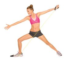 Stand in a side lunge, right leg bent and right foot turned out at an angle. Place one end of a band under right foot. Bend at waist so chest points over right thigh toward floor and hold arms extended out to sides to start. In one fluid motion, pull the band up and back, diagonally across body, as you raise torso and rotate it open. Slowly return to start. Do 10 reps. Repeat on opposite side.