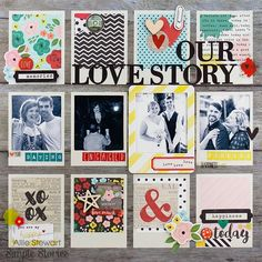 I have my first Simple Stories design team layouts to share using the new Life in Color collection. Scrapbook Page Layouts, Scrapbook Albums, Scrapbook Cards, Scrapbook Templates, Scrapbook Journal, Photo Layouts, Couple Scrapbook, Wedding Scrapbook, Vacation Scrapbook