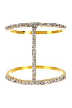 14K Gold Diamond Bar Ring - 0.40 ctw