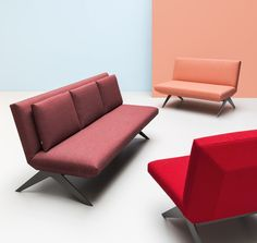 LCD #sofa and #armchair designed by #RenataKalarus. Inspired by the shape of the modern television and as such characterized by an ultra slim silhouette - its simple and visually lightweight form is mounted on metal skids.