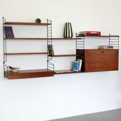 Original Nisse Strinning Teakwood Wall-Unit 60s | Teak String Regal System 60er