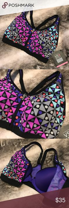 NWT VS Knockout Sport Bra Knockout by Victoria's Secret Sport Bra Super supportive! Double layer - the top layer zips up and the bra underneath is a front close Adjustable straps Fun pattern! Victoria's Secret Intimates & Sleepwear Bras