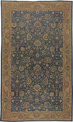 Antique Indian Rug with blue & gold floral ornaments. Interior decor with antique ornamental rug #rug #interior #decor