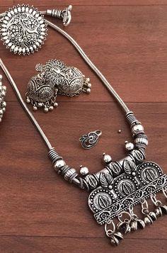 silver jewellery Buy online Antique German Silver Jewellery Combo Set of 5 Silver Jewellery Indian, Temple Jewellery, Silver Jewelry, Silver Ring, Saree Jewellery, Antique Jewellery Designs, Jewelry Design, Antique Jewelry, Pandora