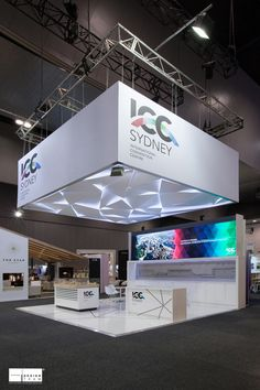 ICC SYDNEY @ AIME The ICC Sydney stand features a large LED screen with looping video and a spectacular floating ceiling. Winner of the Best Innovative Stand at AIME - #Exhibition #Design