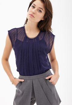 Pleated Swiss Dot Top   Forever 21 - 2000059050