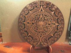CNC Engraved v-carved Aztec Myan calendar decoration W/ stand