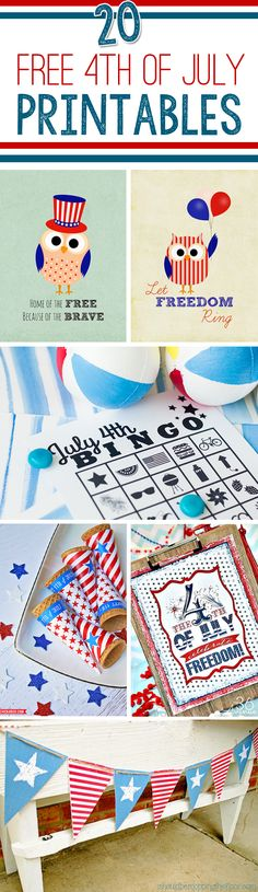 20 Free Fourth of July Printables - Pretty My Party #free #fourthofjuly #patriotic #printables