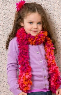 Child's Hand Chain Scarf Free Crochet Pattern from Red Heart Yarns