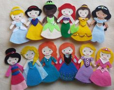 disney felt dolls | FULL SET Disney Princess Felt Finge r Puppets - Felt Dolls ...